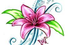 1,5 Blüten Lilie Applikationen sticken