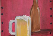 Acrylic paintings of Beer, Wine, Cocktails / Lift your glass to spirits of all kinds.