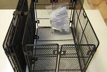 Bicycle Basket for rear rack / Bicycle Basket for rear rack, folding, metal, black steel, fine mesh all around.
