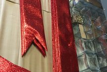 Holiday bows / Commercial sized red glitter bows