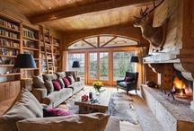 Mountain Home Libraries / Libraries & collections of books in homes with a mountain / Western / rustic aesthetic