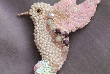 Beaded embroidery single squint bird design
