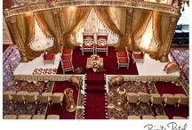 Indian wedding mandaps / Mandap inspiration - florals, drapery, shapes, sizes, furniture, indoor, outdoor.