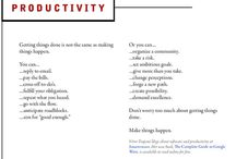 Productivity / Learn how to achieve more by doing Less