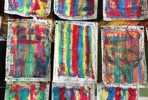 Couverture cahier gs / Peinture à la regle