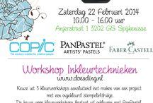 Workshop inkleurtechnieken 22 febr. 2014 / Op zaterdag 22 februari 2014 was er een workshop met 4 inkleurtechnieken bij Doe@ding.
