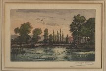 """Mystery Art / Can you tell us anything about this hand-colored etching (c.6"""" x 4"""") by an unknown artist, possibly by a """"Hangrill or Hangrich""""? Found among """"Commander Sutcliffe certificates"""" in Nassau County Veterans' Posts material"""