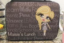 ♡ Personalised Lunch Bags / Using the HunniBunni Builder you can choose outfits, hair styles, hair colours, eye colours, skin tones and can add your name or personalised text so that your lunch bag will be special, individual and unique to you -  visit our website: www.hunnibunniboutique.co.uk