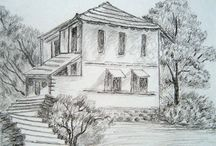 Pencil drawing of houses