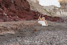 Sun & Sea Lesbian Santorini  Wedding engagement on the shores of the Aegean