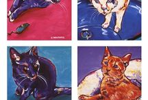 Cat Art Prints / Attention animal lovers! Decorate your home with cat art prints that come in all sorts of sizes, shapes and colors.  / by Bandaged Ear