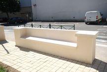 Banc pierre reconstituée / béton pour mur de 50, aspect lisse / banc béton encastré dans le mur, banc intégré dans le muret de clôture, banc béton préfabriqué, banc béton lisse, banc pierre reconstituée