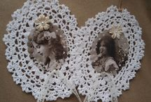 crochet photo frames/wreath