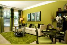 Salas verde e preto moderno