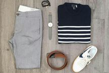 Outfits - Blue top, Gray bottom