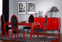 comedor en rojo / comedor en rojo decapado en madera de mindi Diseño, producción y fabricación exclusiva y ecológica por www.comprarenbali.com