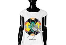 T-shirt - Eight Arms / Women T-shirt, Limited Edition Designer T-shirt COLOURS OF MY LIFE - Limited Edition wearable art signed by Anca Stefanescu.