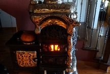 ANTIQUE STOVES & PARLOR STOVES / A collection of gorgeous antique base coal burning Parlor Stoves for sale. The perfect addition to a high end home, lodge or private collection.  This are beautiful pieces of art.