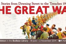The Great War: Personal Stories from Downing Street to the Trenches / An exhibition at the Bodleian Library. Using letters and diaries of politicians, soldiers and civilians, all in some way connected with Oxford University, the exhibition relates contemporary experiences of the Great War. It concentrates on the years 1914 to 1916, from the outbreak of war to the end of the battle of the Somme and the fall of Asquith. 18 June 2014 - 2 November 2014  http://www.bodleian.ox.ac.uk/whats-on/online/the-great-war