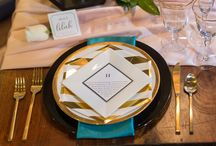 Blush + Gold + Turquoise / A table setting perfect for the modern couple!
