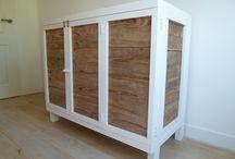 Steigerhouten meubelen / Steigerhout, steigerhouten commode, steigerhouten muur, babykamer