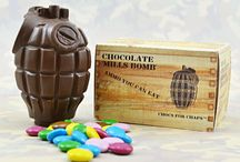 chocolate hand grenades / edible hand grenades filled with sweets