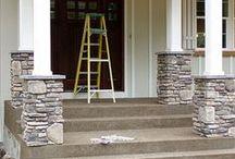 Stone clad mid pillar