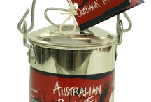 OUTBACK BILLY CANS / Outback Billy Hampers:  The ultimate selection of our unique Australian manufactured products reflecting the flavours of Australia.  These delights are presented in a genuine Australian made Billy Cans  An ideal gift for overseas visitors or to send to relatives and friends overseas. The perfect gift for the outdoor lovers.