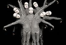 circus performers / lots of stripes and primary colours
