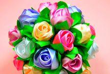 kanzashi / kanzashi satin flower ideas