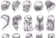 croquis de penteados