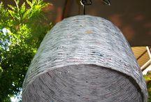 EKO Lamp lampshade Woven from Recycled newspaper 4 / lampa, klosz, abażur, ręcznie wypleciono z gazet, papierowa wiklina