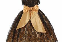Black & Gold Flowerr Girl Dresses