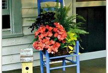 Chairs in the Garden / Old or vintage chairs used as flower planters.