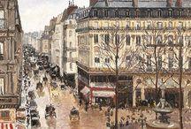 Camille Pissarro (1830-1903) / C'est un peintre impressionniste puis néo-impressionniste franco-danois. Connu comme l'un des « pères de l'impressionnisme », il peint la vie rurale française, en particulier des paysages et des scènes représentant des paysans travaillant dans les champs, mais il est célèbre aussi pour ses scènes de Montmartre, et ses scènes autour du Louvre et des Tuileries.