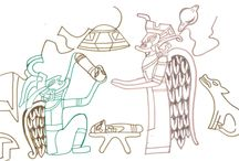 Drawings after alien artifacts from Mexic