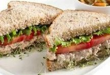 sanduíches integrais com atum e Philadelphia