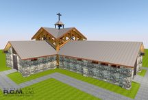 2888 sqft Catholic Church / This 268 square meter church has the central area (Crossing) designed with massive western red cedar posts and cross parallel log trusses on all four sides to create a stunning feeling of awe around the Altar. The Nave and Transepts (seating areas) will be built with stone veneered concrete pillars and metal beams to keep building project within budget.
