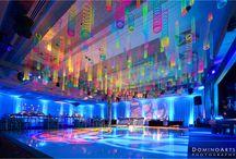 Dekoracja Światłem LED / Pomysły dekoracji światłem,  LED, podświetlenia sali. różne kolory światła.