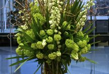 Flower displays for tall vases