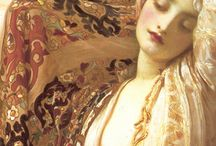 "Artists:  Leighton / Sir Frederic Lord Leighton, 1st Baron of Leighton,(1830-1896) was an English painter and sculptor. His work depicted Historical, Biblical and classical subject matter. Leighton was bearer of the shortest lived peerage in history, ending with his death only one day after his peerage. I especially love ""Flaming June"" .  / by Lynne Wedeen"