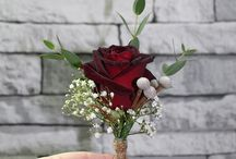 Dark Red Roses and Gypsophila Wedding Flowers