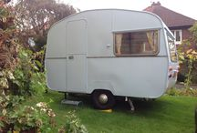 """1964 Sprite 400 Caravan / My totally original 1964 Sprite 400 caravan. She's as she left the factory, including the original upholstery! Only the curtains are """"new"""" as the old ones had long gone. Even then they're new old stock from the 1960's! She's 10ft long and sleeps four."""