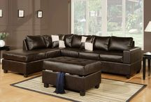 Luxurious Leather Furniture / We want to highlight our leather Sacramento Sectional Sofa Sets, these amazingly affordable sets include a storage ottoman! They come in three colour options (black, white and epsresso) and these are REVERSIBLE! Talk about design options!