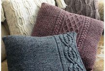 Knitted pillows and afghans