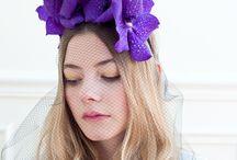 accessoires en fleurs bleu nuit / diadème en wanda