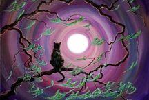 Cat Silouhettes in moon light / Cat Silouhettes against moon
