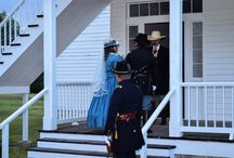 Tiea wearing East Angel Harbor Hat for her Civil War Period Wedding / Photos of Tiea's wedding and views of the hat.