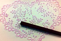Embossed cards with crayons