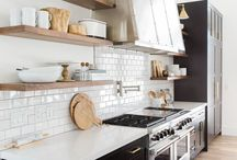 Open Kitchen Shelving / Open kitchen shelves give more flow and movement to a room that can often feel heavy, lined with bulky cabinets. Open up your space with doorless cabinets or bracketed shelves.